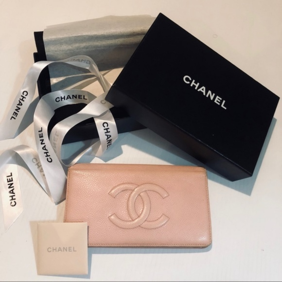 889ca1de Chanel CC Caviar Lambskin Leather Pink Long Wallet